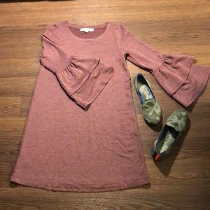 LOFT Purple Bell Sleeve Sweatshirt Dress XXSP